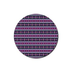 Fancy Tribal Border Pattern 17c Rubber Coaster (round)  by MoreColorsinLife