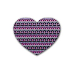 Fancy Tribal Border Pattern 17c Rubber Coaster (heart)  by MoreColorsinLife