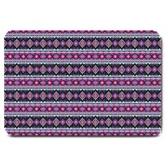 Fancy Tribal Border Pattern 17c Large Doormat  by MoreColorsinLife