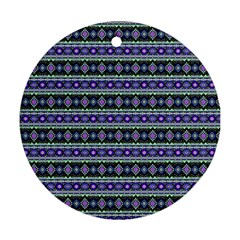 Fancy Tribal Border Pattern 17d Ornament (round) by MoreColorsinLife