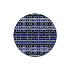 Fancy Tribal Border Pattern 17d Rubber Coaster (round)  by MoreColorsinLife