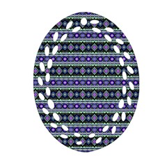 Fancy Tribal Border Pattern 17d Oval Filigree Ornament (two Sides) by MoreColorsinLife