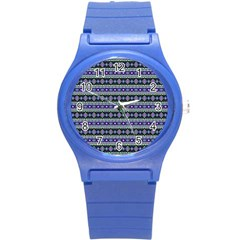Fancy Tribal Border Pattern 17d Round Plastic Sport Watch (s) by MoreColorsinLife