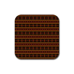 Fancy Tribal Border Pattern 17e Rubber Square Coaster (4 Pack)  by MoreColorsinLife