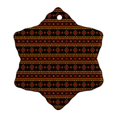Fancy Tribal Border Pattern 17e Ornament (snowflake) by MoreColorsinLife