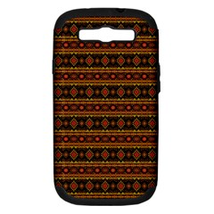 Fancy Tribal Border Pattern 17e Samsung Galaxy S Iii Hardshell Case (pc+silicone) by MoreColorsinLife