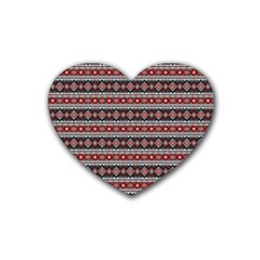 Fancy Tribal Border Pattern 17f Rubber Coaster (heart)  by MoreColorsinLife