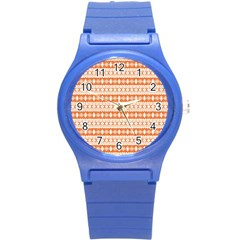 Fancy Tribal Border Pattern 17i Round Plastic Sport Watch (s) by MoreColorsinLife