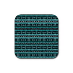 Fancy Tribal Border Pattern 17g Rubber Square Coaster (4 Pack)  by MoreColorsinLife