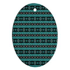 Fancy Tribal Border Pattern 17g Oval Ornament (two Sides) by MoreColorsinLife