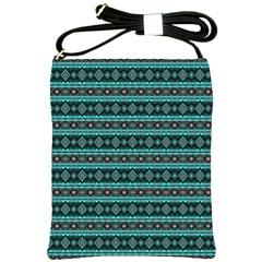 Fancy Tribal Border Pattern 17g Shoulder Sling Bags by MoreColorsinLife