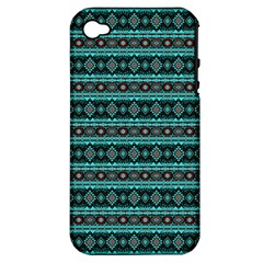 Fancy Tribal Border Pattern 17g Apple Iphone 4/4s Hardshell Case (pc+silicone) by MoreColorsinLife