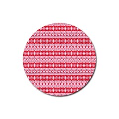 Fancy Tribal Border Pattern 17h Rubber Round Coaster (4 Pack)  by MoreColorsinLife