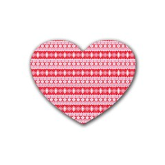 Fancy Tribal Border Pattern 17h Rubber Coaster (heart)  by MoreColorsinLife