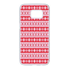 Fancy Tribal Border Pattern 17h Samsung Galaxy S7 Edge White Seamless Case by MoreColorsinLife