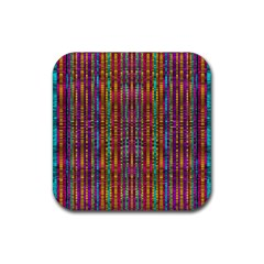 Star Fall In  Retro Peacock Colors Rubber Square Coaster (4 Pack)  by pepitasart