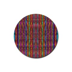 Star Fall In  Retro Peacock Colors Rubber Round Coaster (4 Pack)  by pepitasart