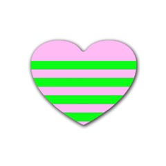 Pink And Green Stripesi Heart Coaster (4 Pack)  by NSTP