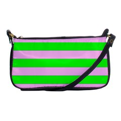 Pink And Green Stripesi Shoulder Clutch Bags by NSTP