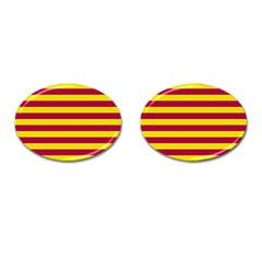 Red & Yellow Stripesi Cufflinks (oval) by norastpatrick