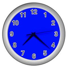 Blue! Blue! Blue! Wall Clocks (silver)  by norastpatrick