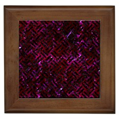 Woven2 Black Marble & Burgundy Marble (r) Framed Tiles by trendistuff