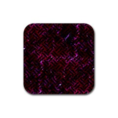 Woven2 Black Marble & Burgundy Marble (r) Rubber Coaster (square)  by trendistuff