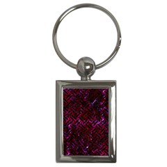 Woven2 Black Marble & Burgundy Marble (r) Key Chains (rectangle)  by trendistuff