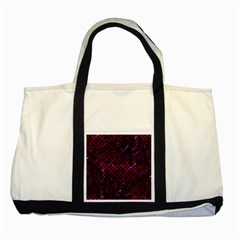 Woven2 Black Marble & Burgundy Marble (r) Two Tone Tote Bag by trendistuff