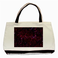 Woven2 Black Marble & Burgundy Marble (r) Basic Tote Bag (two Sides) by trendistuff