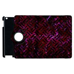 Woven2 Black Marble & Burgundy Marble (r) Apple Ipad 3/4 Flip 360 Case by trendistuff