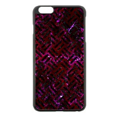 Woven2 Black Marble & Burgundy Marble (r) Apple Iphone 6 Plus/6s Plus Black Enamel Case by trendistuff