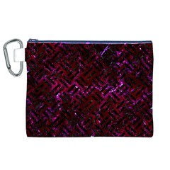 Woven2 Black Marble & Burgundy Marble (r) Canvas Cosmetic Bag (xl) by trendistuff