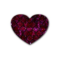 Tile1 Black Marble & Burgundy Marble (r) Rubber Coaster (heart)  by trendistuff