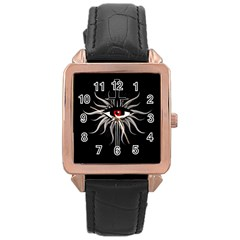 Inquisition Symbol Rose Gold Leather Watch  by Valentinaart