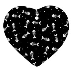 Fish Bones Pattern Heart Ornament (two Sides) by Valentinaart