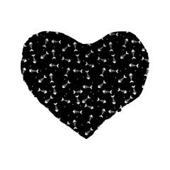 Fish Bones Pattern Standard 16  Premium Heart Shape Cushions by Valentinaart