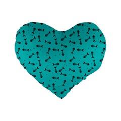 Fish Bones Pattern Standard 16  Premium Flano Heart Shape Cushions by ValentinaDesign