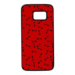 Fish Bones Pattern Samsung Galaxy S7 Black Seamless Case by ValentinaDesign