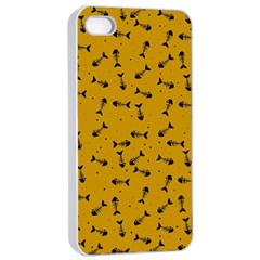 Fish Bones Pattern Apple Iphone 4/4s Seamless Case (white) by ValentinaDesign