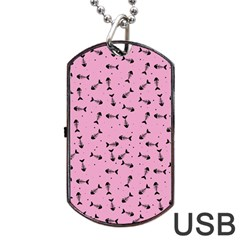 Fish Bones Pattern Dog Tag Usb Flash (two Sides) by ValentinaDesign