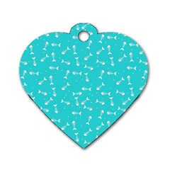 Fish Bones Pattern Dog Tag Heart (one Side) by ValentinaDesign