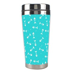 Fish Bones Pattern Stainless Steel Travel Tumblers by ValentinaDesign