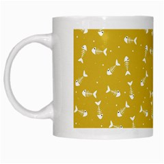 Fish Bones Pattern White Mugs by ValentinaDesign