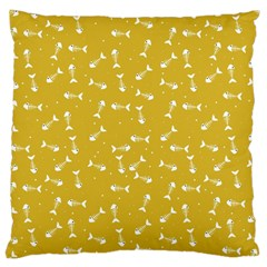 Fish Bones Pattern Large Cushion Case (two Sides) by ValentinaDesign