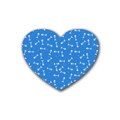 Fish Bones Pattern Rubber Coaster (heart)  by ValentinaDesign