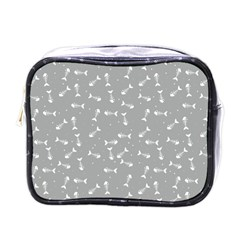 Fish Bones Pattern Mini Toiletries Bags by ValentinaDesign