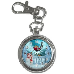 Christmas Design, Santa Claus With Reindeer In The Sky Key Chain Watches