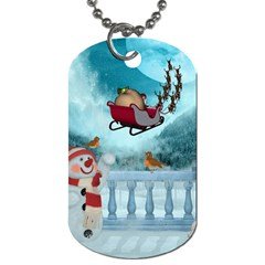 Christmas Design, Santa Claus With Reindeer In The Sky Dog Tag (two Sides) by FantasyWorld7