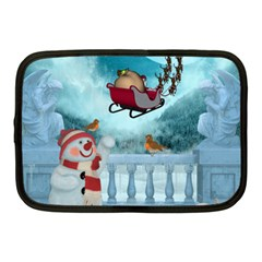 Christmas Design, Santa Claus With Reindeer In The Sky Netbook Case (medium)  by FantasyWorld7